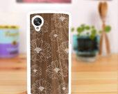 Nexus 5 case print grain wood Nexus 4 case floral flower pattern , design for LG Google Nexus 5 Cover, Nexus 4 Cover - 096