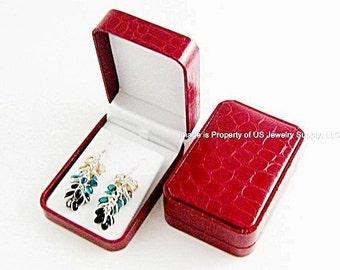 1 Elegant Red Crocodile Pattern Large Earring or Pendant Gift Box