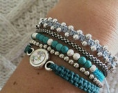 Handmade macrame bracelet with combination of turquoise gemstone round beads and silver stardust copper balls spacers