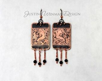 Copper Earrings Etched w/ Gardeners Motif, Pierced, Dangling