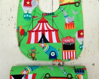 Soak Proof Bib and Burpcloth Set | Circus Fun