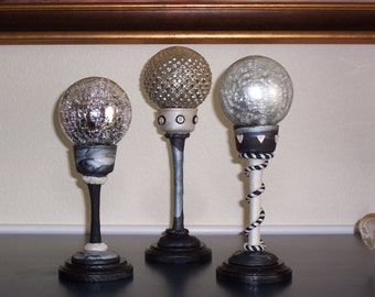 3 Glass Spheres In Black, White & Silver