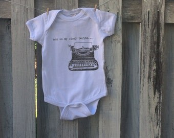 And so my story begins…  Typewriter Art Hipster Baby Onesie