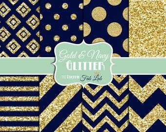 Navy and Gold, Glitter, Chevron, Stripes, Polka Dots, Digital Paper, 12x12, Scrapbook