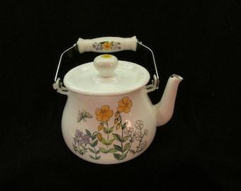 Vintage ENAMELWARE Tea Pot FLOWER design RETRO
