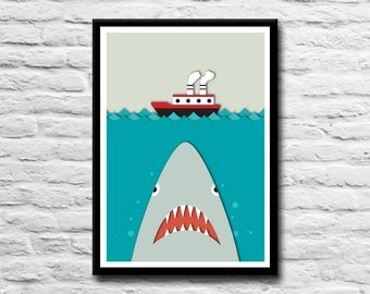 Shark Print - Shark Print, Shark Illustration, Wall art, Home decor, Office art, Boat Print, Papercut, Boat Illustration