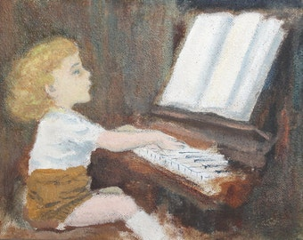 1999 oil painting child portrait signed