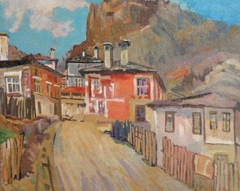 Vintage oil painting village landscape