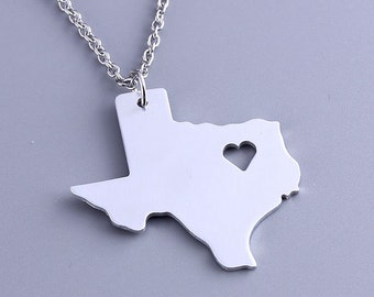I heart Texas Necklace - Texas Pendant - State Charm - Map necklace - Map Jewelry