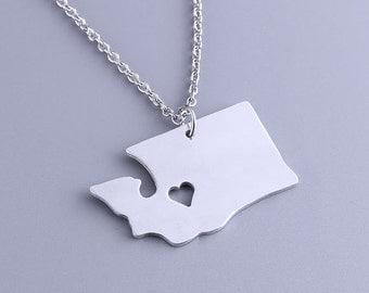 I heart Washington Necklace - Washington Pendant - State Charm - Map necklace - Map Jewelry