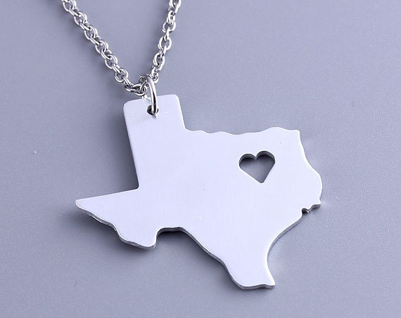 I Heart Texas Necklace Texas Pendant State Charm Map