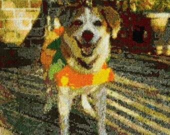 Handmade Beagle Cross Stitch Portrait