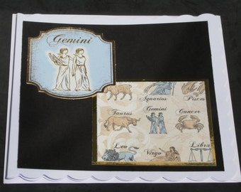 Square 6x6 Scalloped Edged Horoscope/Zodiac Style Card