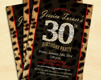 Leopard Print 30th Birthday Party Invitation / 40th / 50th / 60th / 70th / 80th Any Age / Digital Printable Invitation / Customized