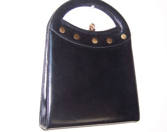 Vintage Handbag,  Crown Lewis Bag, Black Handbag