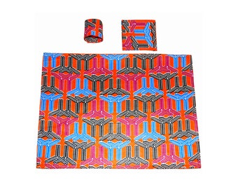 Orange (Blue and black accents) ankara placement mats with coasters and napkin rings