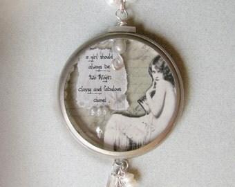 original art resin collage necklace