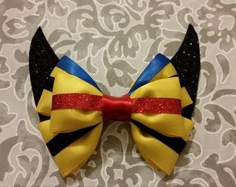 Superhero Wolverine Hair Bow, Cosplay bow, Nerdy girl, Comic Book