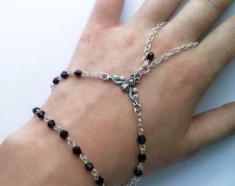 Gothic Black Slave Bracelet , Silver Slave Bracelet , Beaded Slave Bracelet , Bohemian Jewelry , Gothic Jewelry , Handmade Jewelry , Goth