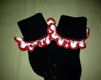 Crochet trimmed baby socks