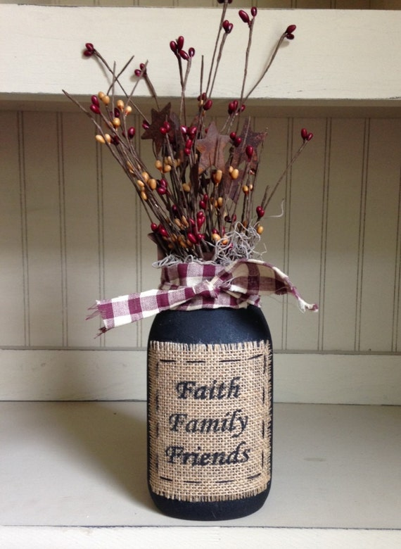 items similar to grungy jar with burlap patch and berries