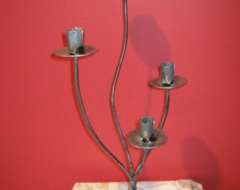 Four (4) candle candelabra wrought iron distressed silver finish.