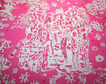 """Lilly Pulitzer~2014~ fabric~~ Hotty Pink SKINNY DIPPIN' MINI""""~ 100%  polished cotton~ 18""""x18"""""""