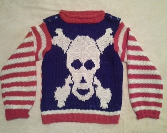 "Hand Knitted Cotton Childs Shirt in ""Pirate"" Pattern"
