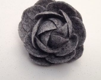 grey floral hair clip