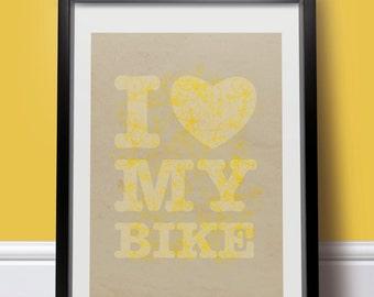 I HEART MY BIKE. Vintage style Bike print/Bike poster • yellow/brown• typographic • modern • cool • feminine • retro •bold • bright