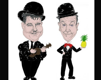 Laurel and Hardy A6 card (blank inside/ write your own message)