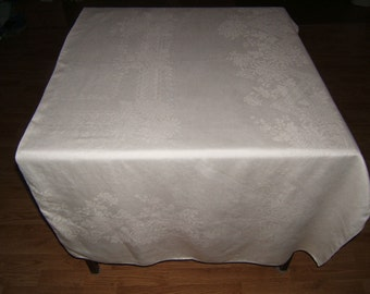 Vintage Antique White Irish Linen Double Damask Tablecloth 88x68 023