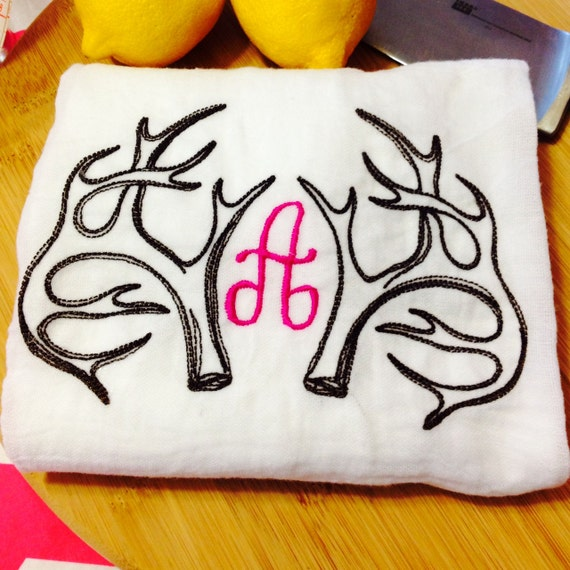 Rustic Monogrammed Antlers Flour Sack Kitchen Towel Available in White or Cream