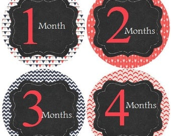 Monthly Baby Stickers Girl, Milestone Stickers, Month Stickers, Baby Month Stickers, Baby Stickers #124