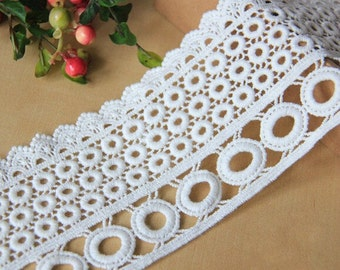 White Circle Lace Trim Cotton Embroidery Hollow Out Lace Trim 3.54 Inches Wide 1 Yard L0145