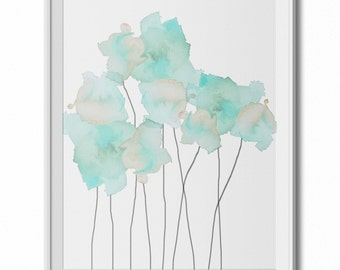 Soft, Ethereal Light Blue Watercolor Flowers Wall Art Print - 8x10 PDF Instant Download