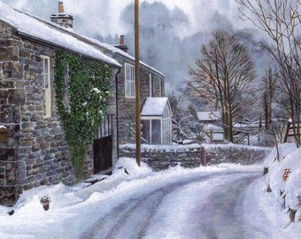 """Greetings card: """"Beck House Farm"""" - winter landscape, snowy lane, cottages, snow scene, winter birthday card, from a painting by Dave Marsh"""