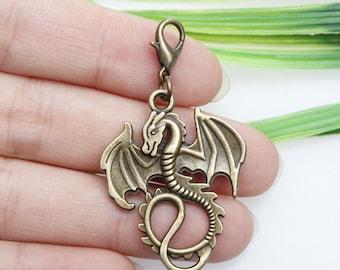 Own Charm ~Own Charm ~Bronze dragon beads, 34mm antique brass dragon pendants