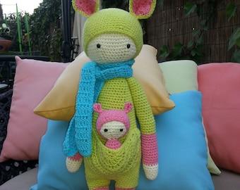 Mother Kangaroo and her baby amigurumi