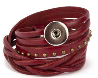 Trendy Leather Snap Bracelets-popper not included