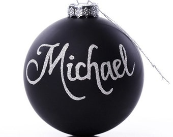 Personalised Black Glass Christmas Bauble - Large