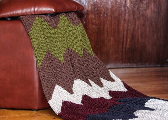 Chevron tricot couverture confortable jeter la main Afghan