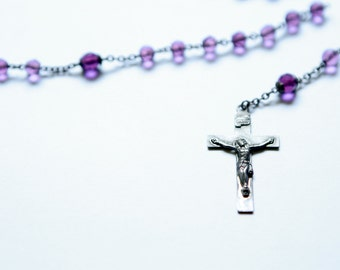 Antique Sterling Silver Amethyst Purple Glass Rosary Beads