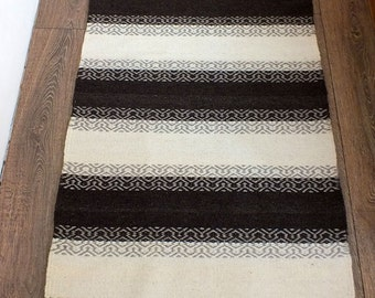 Handwoven wool rug - made to order - black and white