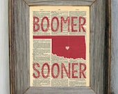 Oklahoma Sooner Dictionary Art Print - BOOMER SOONER