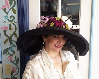 Kentucky Derby big black satin picture hat for Kentucky derby or any event.