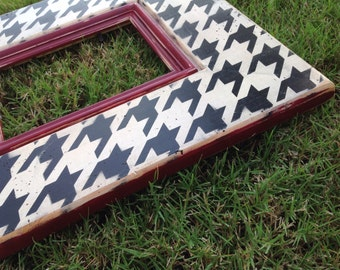 Alabama Picture Frame- 5x7 Houndstooth,  Black, Cream, & Crimson Red