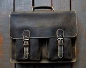 Handmade Leather Men's Briefcase 15-inch Laptop Bag Leather Messenger Bag for 15-inch Laptop Leather Computer Bag Boyfriend Birthday Gift