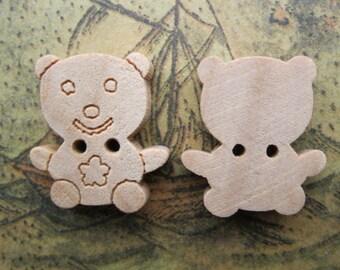 12Pcs 14x16mm Wooden Buttons Bear Design Assortment Wood Buttons FF