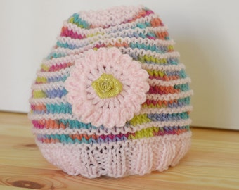 Hand Made Knitted Baby Beanie 3 - 6 months - Rainbow